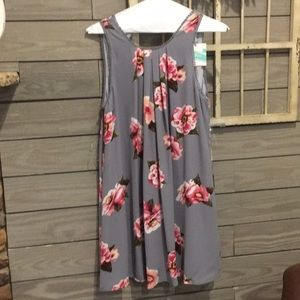 NWT Umgee size S gray with pink flowers dress